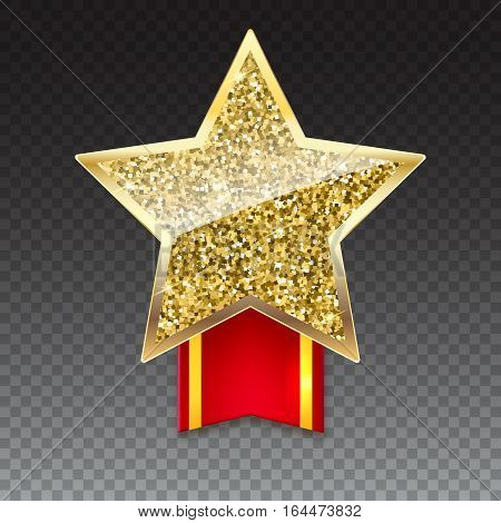 Yellow brilliant star with ribbon with gold stripes on transparent background. Golden star with gold sparkles and glitter on red ribbon