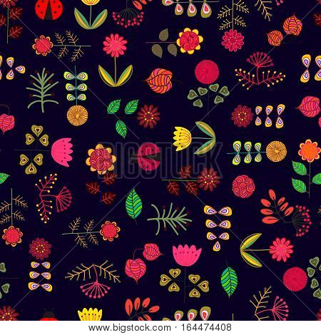 Cute doodles hand drawn flowers seamless pattern