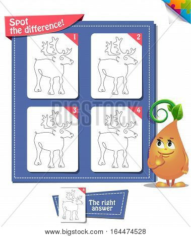 Visual Game for children. Task: Spot the difference deer
