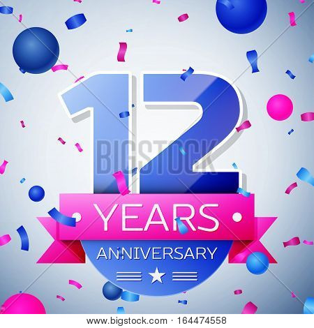 Twelve years anniversary celebration on grey background. Anniversary ribbon