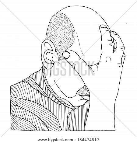 Forehead and hand Doodle Flourish graphic with ornate pattern. Design Isolated on white.