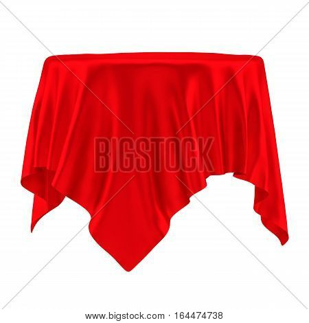 Empty round red table cloth. Isolated on White Background. 3D illustration
