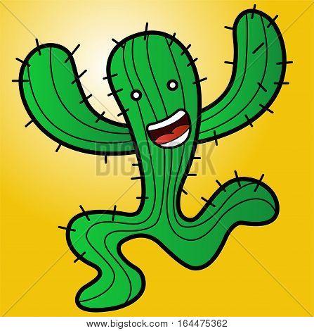 Illustration of a funny monster cactus running vector cartoon
