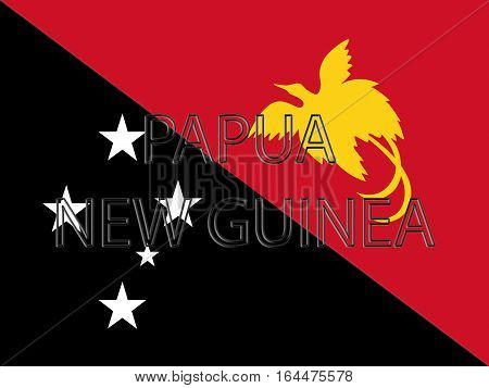 Illustration of the flag of Papua New Guinea with the country written on the flag
