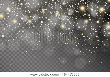 Abstract Shiny Yellow And White Sparcles And Flares Effect Pattern Isolated On Transparent Backgroun
