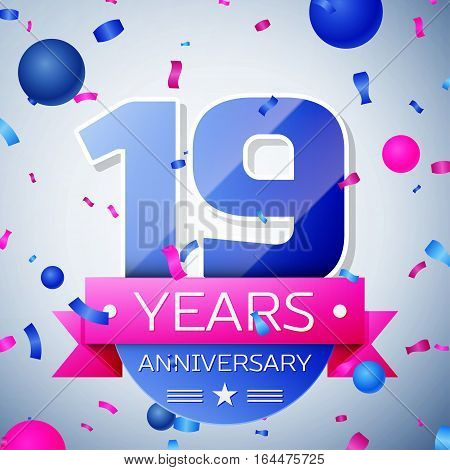 Nineteen years anniversary celebration on grey background. Anniversary ribbon