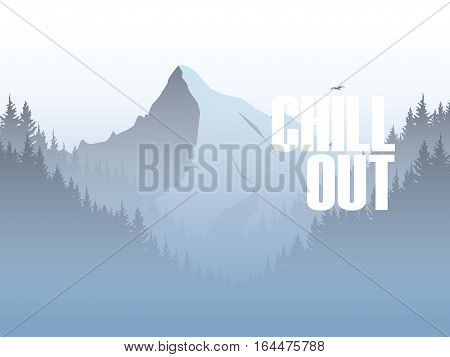 Mountain and forest landscape vector illustration with foggy, haze mountains valley. Eps10 vector illustration.