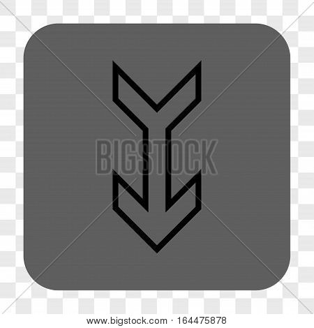 Arrow Down interface toolbar button. Vector icon style is a flat symbol in a rounded square button black and gray colors chess transparent background.