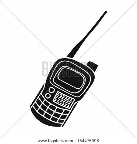 Handheld transceiver icon in black design isolated on white background. Paintball symbol stock vector illustration.