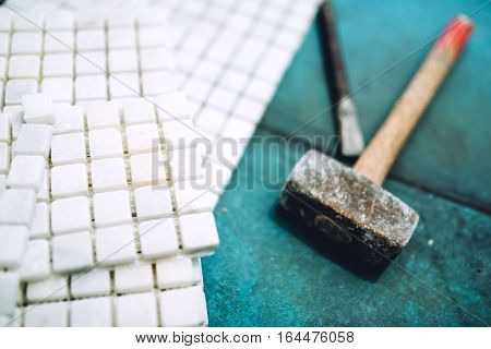 Close Up Details Of Construction Tools, Bathroom And Kitchen Renovation - Pieces Of Mosaic Ceramic T