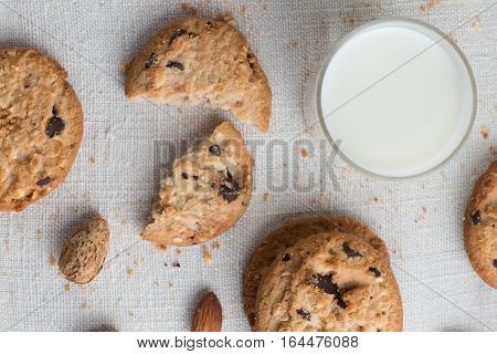 Cookies Pile With Chocolate Chip And Almond On Light Textile Background. Delicious Morning Snacks Fo