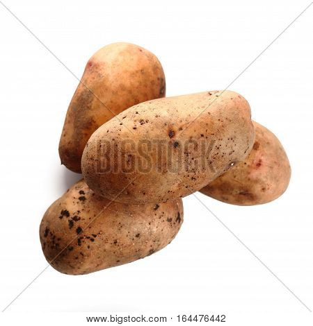 Potatoes isolated on white background. close up