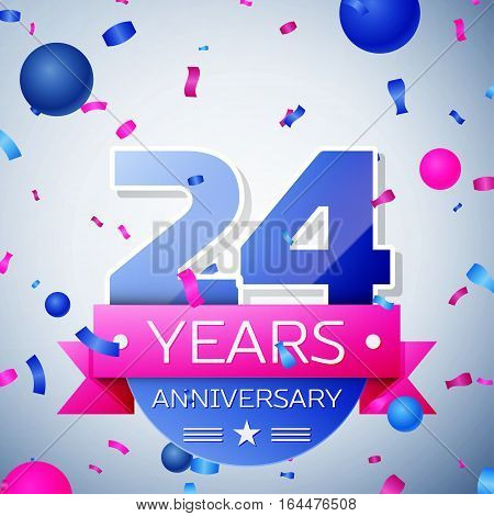 Twenty four years anniversary celebration on grey background. Anniversary ribbon