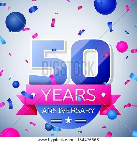Fifty years anniversary celebration on grey background. Anniversary ribbon