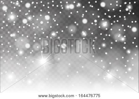 Abstract Shiny White Snow, Sparcles And Flares Effect Pattern Isolated On Transparent Background. Ve