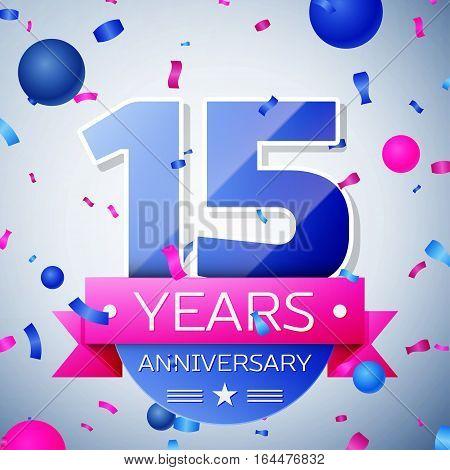 Fifteen years anniversary celebration on grey background. Anniversary ribbon