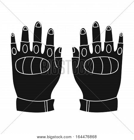 Fingerless gloves icon in black design isolated on white background. Paintball symbol stock vector illustration.