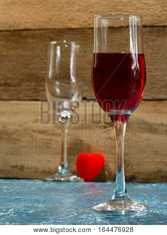 Valentine's Day. Quarrel between a pair of lovers. He left without drinking glass. Concept
