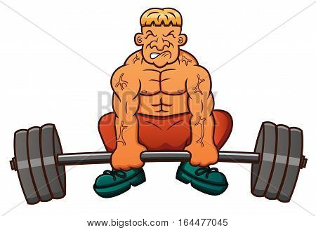 Weight Lifter Lifting Heavy Barbell Cartoon Illustration.