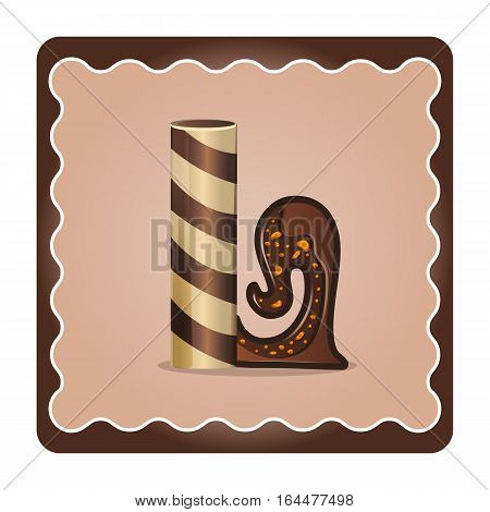 Cards for children for learning the alphabet. Letter l as chocolate in the form of candies and cakes . Vector Illustration