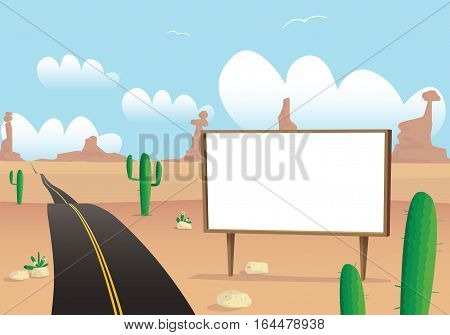 An image of a billboard in a hot dusty desert.