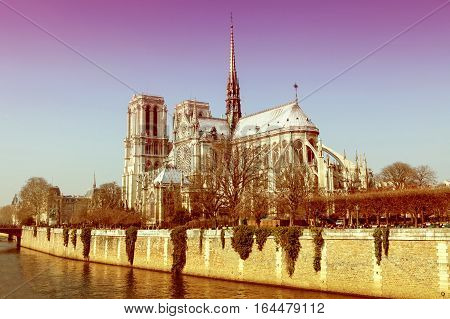 Notre Dame Cathedral In The Center Of Paris, France, On A Sunny Day