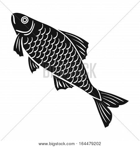 Fish icon in black design isolated on white background. Fishing symbol stock vector illustration.