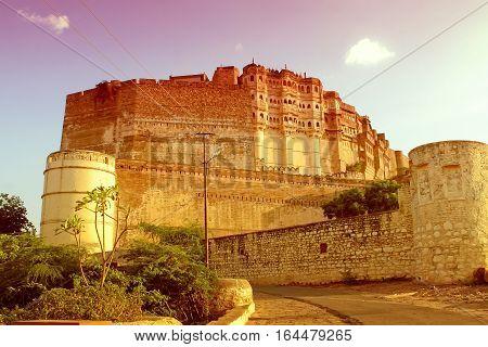Mehrangarh fortress in Jodhpur in Rajasthan India