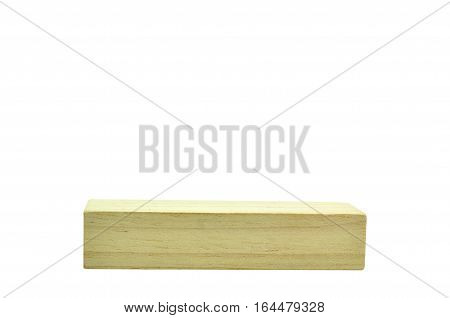 Rectangle wood block isolated on white background.
