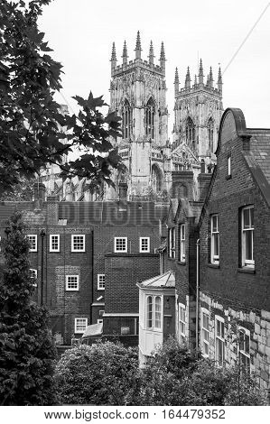 Houses of York England with the famous York Minster Cathedral in the distance. Black and white.