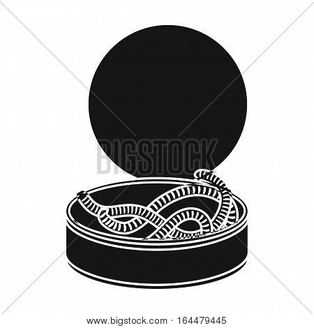 Tincan full of worms icon in black design isolated on white background. Fishing symbol stock vector illustration.