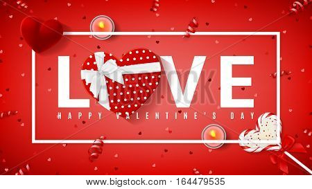 Red banner for Valentine's Day. Top view on composition with lollipop, gift box, case for ring, candles and confetti. Candy in the form of heart isolated on red backdrop. Vector illustration.