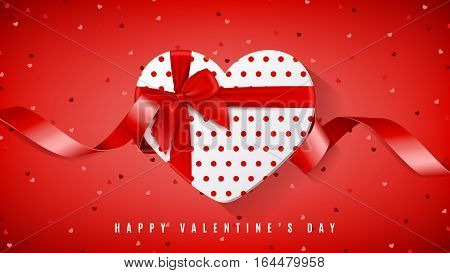 Happy Valentine's Day red web banner. Top view on white gift box in the form of heart and bow. Vector illustration with confetti and red tape.