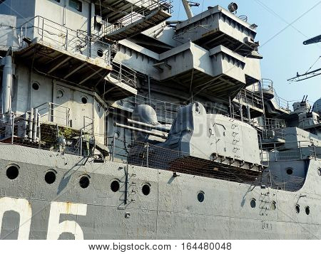 NOVOROSSIYSK, RUSSIA - August 3, 2016: Starboard, Paired cannon antiaircraft fire. Closeup. Cruiser