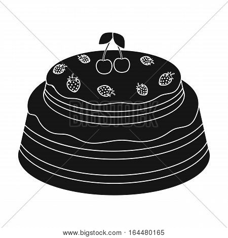 Cake with cherry icon in black design isolated on white background. Cakes symbol stock vector illustration.
