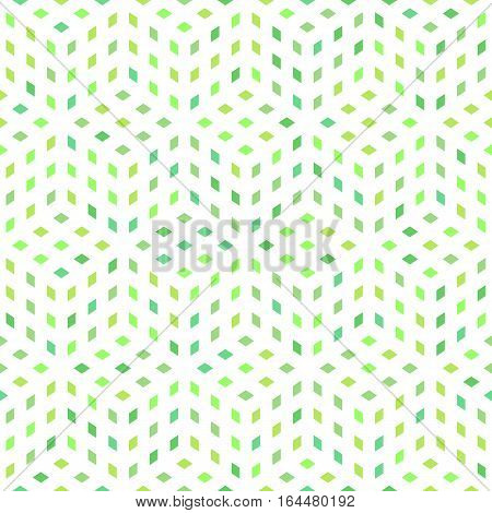 Floral geometric seamless pattern made of green diamond shapes