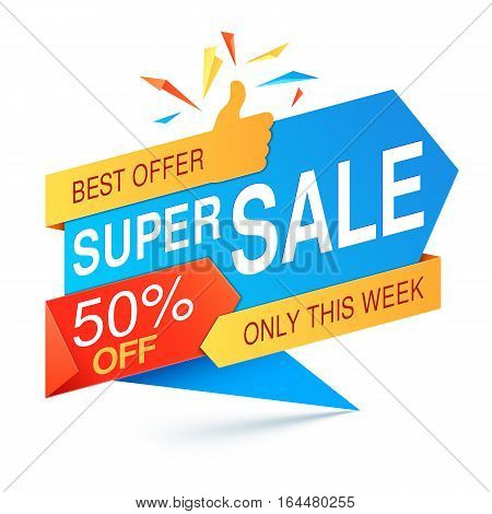 Colorful super sale banner on white background