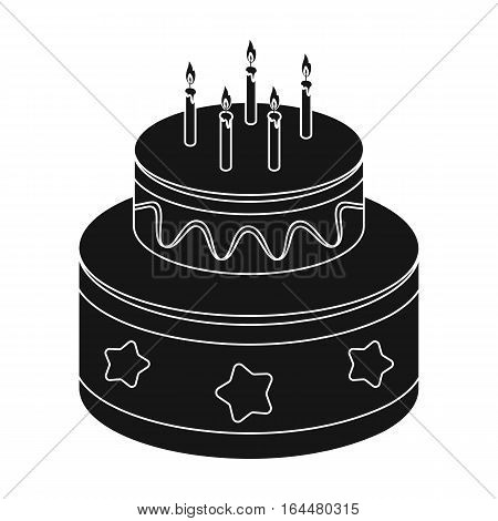 Chocolate cake with stars icon in black design isolated on white background. Cakes symbol stock vector illustration.