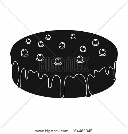 Bilberry cake icon in black design isolated on white background. Cakes symbol stock vector illustration.