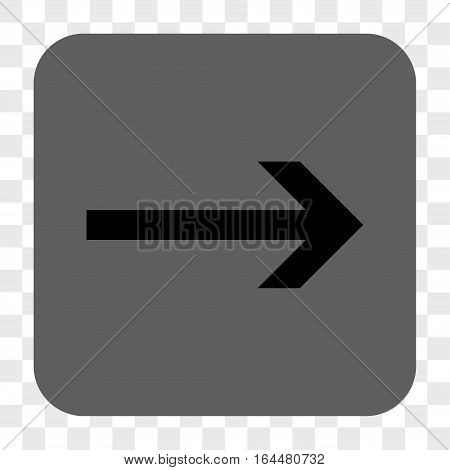 Arrow Right interface toolbar button. Vector icon style is a flat symbol inside a rounded square button black and gray colors chess transparent background.