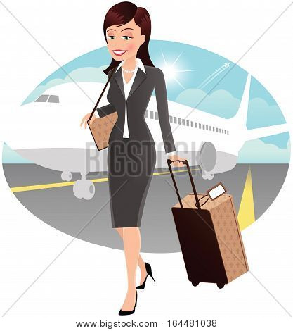 A young business woman walking away from an airplane.