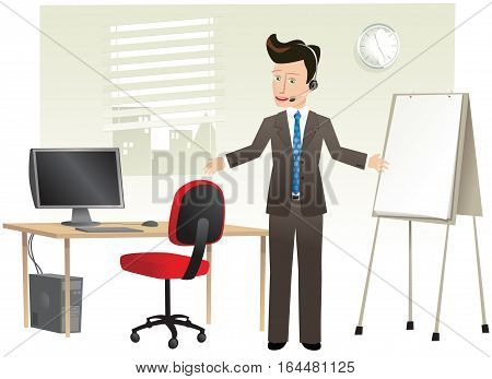 A young businessman on his phone headset, while standing in his office.