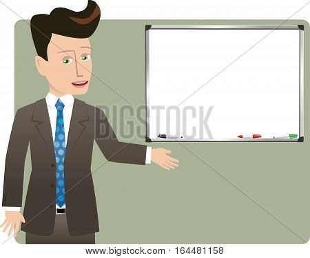 An illustration of a businessman gesturing to a blank whiteboard.
