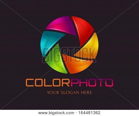 Photo logo template. Colorful diaphragm symbol. Vector illustration.