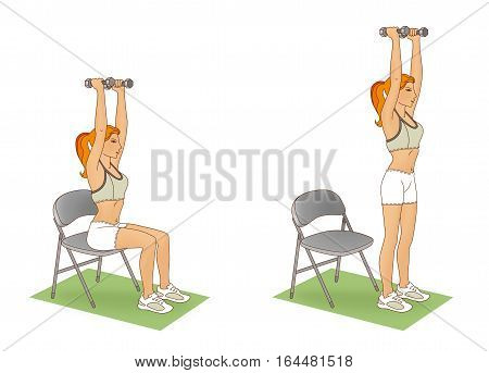 Girl performing an exercise lifting from the chair with her arms raised and a dumbbell on a white background