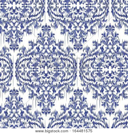Blue Ikat Ogee and Damascus ornament Seamless Background Pattern. Abstract background for textile design, wallpaper, surface textures