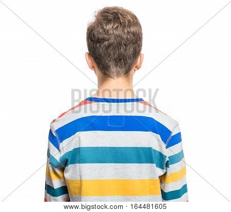 Rear view of caucasian teen boy. Back funny cut teenager, isolated on white background.