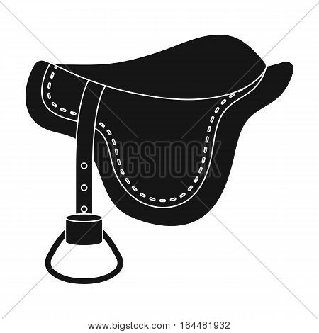 Saddle icon in black design isolated on white background. Hippodrome and horse symbol stock vector illustration.
