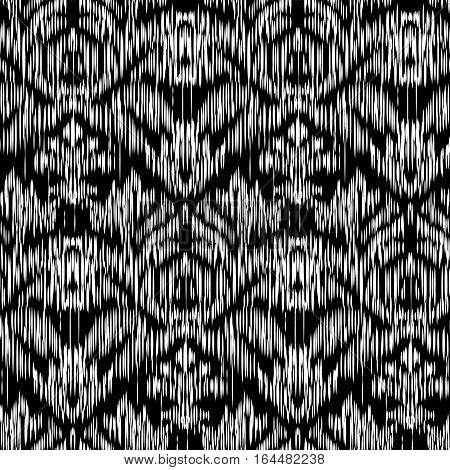 Seamless Ikat Pattern and Damascus ornament. Abstract black and white background for textile design, wallpaper, surface textures