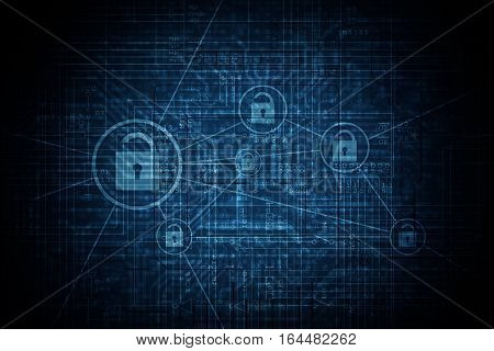 Advanced Encryption Network Standards Conceptual Dark Blue Illustration. Blue Encryption Technology Background.